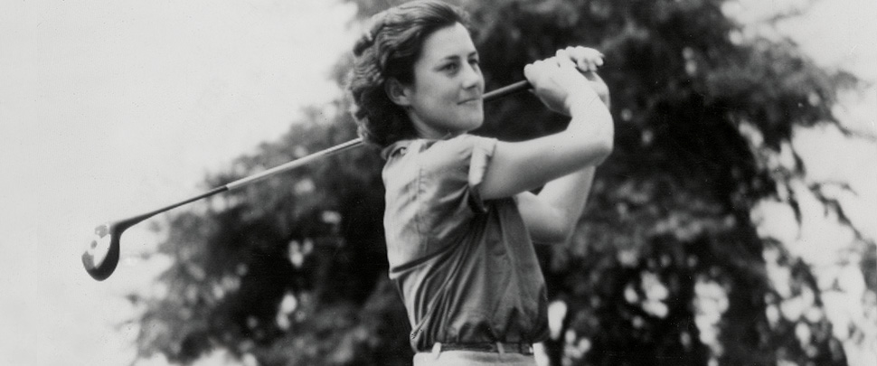 Marion Miley holding golf club