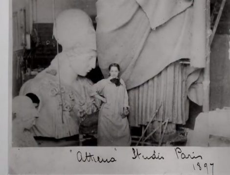 Enid Yandell with her sculpture, The Palace Athena, in progress