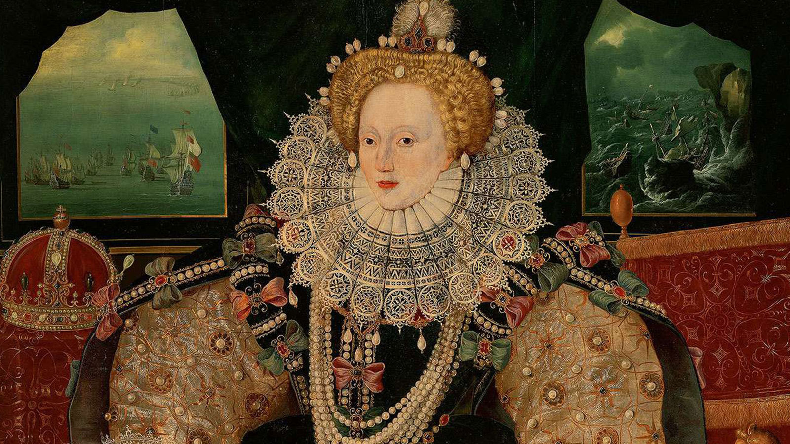 A portrait of Queen Elizabeth I dressed in very ornate clothing and jewels with an ornate red and gold seat, a red and jeweled crown, and images of ships on the sea in the background