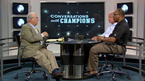 Wilbur Hackett Jr. and Paul Karem being interviewed by Billy Reed