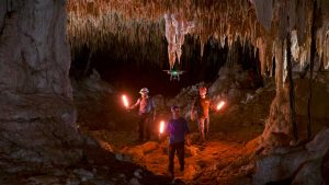 Steve Backshall and the team explore the cave.