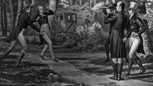 Historic artwork depicting a duel in Kentucky