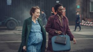 Julia Brown (as Lois Bennett) and Yrsa Daley-Ward (as Connie Knight) walking together