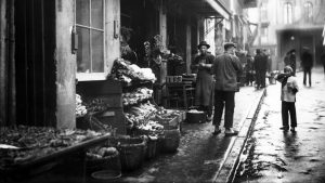Storefront of Chinatown meat and vegetable market, San Francisco, California, 1895.