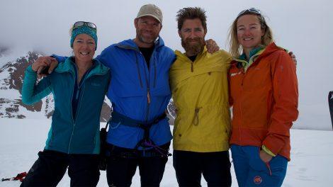 The climbing team; Libby Peter, Steve Backshall, Aldo Kane and Tamsin Gay.