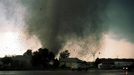 Tornado touching down near a residential area