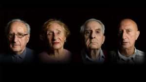Holocaust survivors from left to right: Ivor Perl, Susan Pollack, Frank Bright, Maurice Blik.