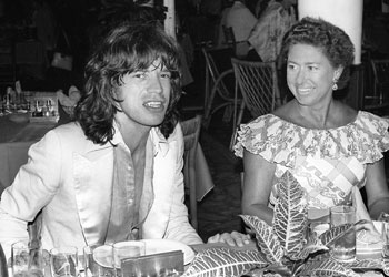 Princess Margaret and Mick Jagger in a bar on the island of Mustique.