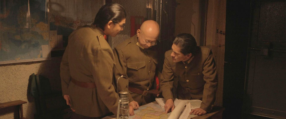 WWII Japanese Imperial soldiers looking at a map