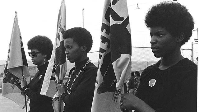 Black Panthers standing with flags