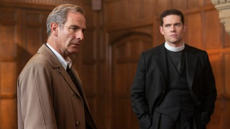 Shown from left to right: Robson Green as Geordie Keating and Tom Brittney as Will Davenport