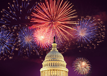 Fireworks over the dome of the capitol building
