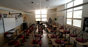 An empty classroom during the COVID-19 pandemic.