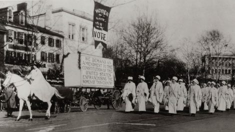 The Great Demand, demanding American women's right to vote, unveiled at the Suffrage Parade in Washington, D.C. March 1913.