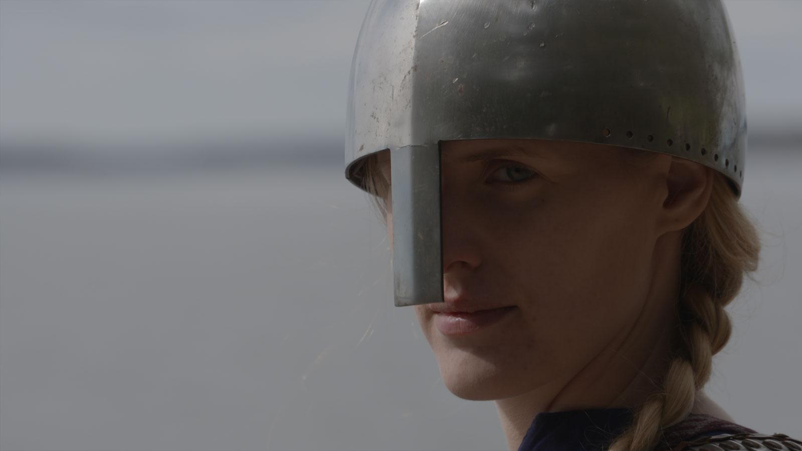 Actor portrayal of a female viking warrior