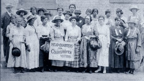 Group photo at the Headquarters for Colored Women Voters. Chicago, IL, 1916.