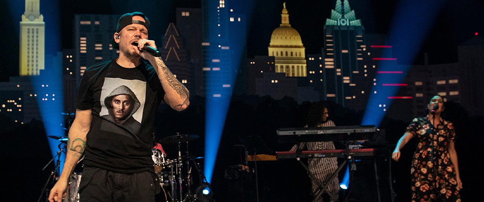 Residente performing on stage at Austin City Limits