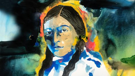Portrait of Zitkála-Šá, aka Gertrude Simmons Bonnin, (1876–1938), American Indian Composer, Author & Civil Rights Activist.
