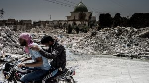A view of Al Nuri Mosque where ISIS declared the caliphate in 2015, surrounded by rubble. Mosul, Iraq.