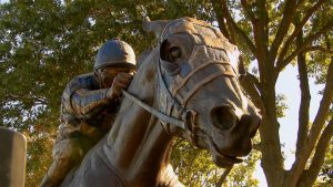 Close-up photo of the Secretariat statue in Lexington, Kentucky, showing Secretariat's face