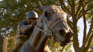 A statue of 1973 Triple Crown winner Secretariat.