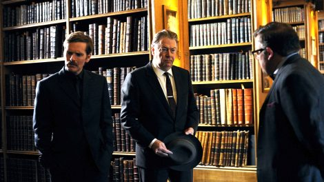 SHAUN EVANS as Endeavour, ROGER ALLAM as DI Fred Thursday and JAMES BRADSHAW as DR Max DeBryn