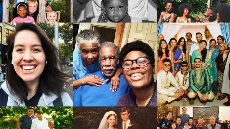 Collage of individual and family portraits