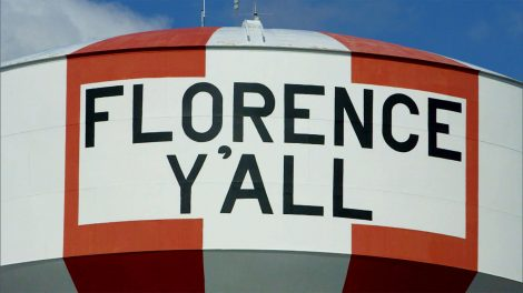"""Close up of the """"Florence Y'all"""" water tower"""