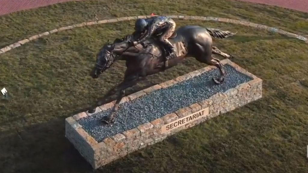 View from above of the Secretariat statue in Lexington, Kentucky