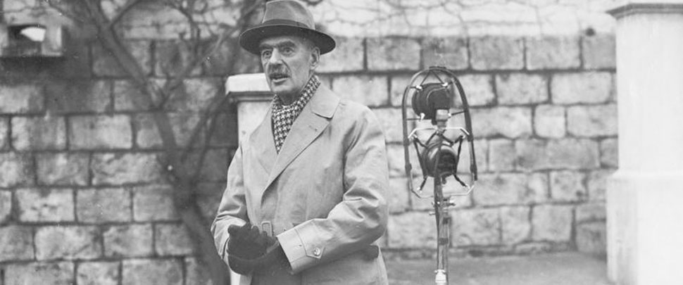 The Prime Minister Neville Chamberlain makes a broadcast speech prior to his departure from Arras, France, after visiting the British Expeditionary Force on 15 December 1939.