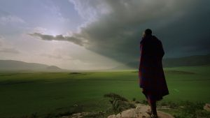 Maasai cattle herder, Parapakuni, surveying the grasslands of the Serengeti plains in Tanzania.