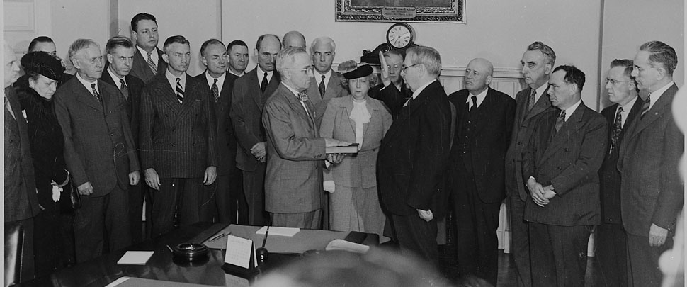 Harry S. Truman taking the oath of office