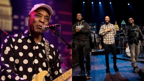 Images of Buddy Guy and Austin Greene performing on the Austin City Limits stage