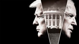 Black and white profile photos of Donald Trump and Joe Biden with an image of the White House between them