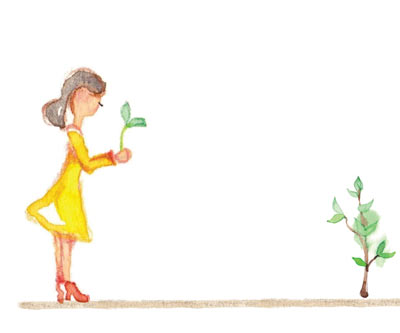 Illustration of a woman holding a seedling
