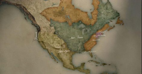 Early colonial map of North America