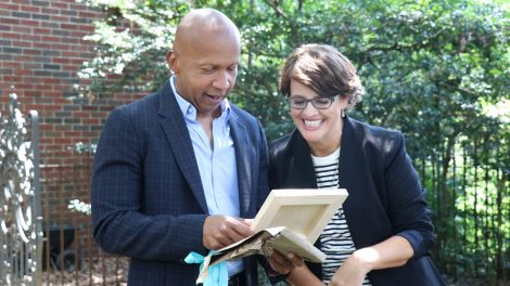 Attorney and social justice activist Bryan Stevenson with TELL ME MORE WITH KELLY CORRIGAN host Kelly Corrigan.