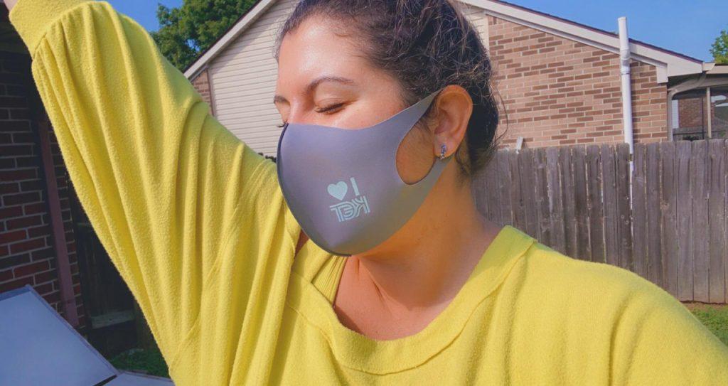 Junior League of Lexington Member in a KET facemask