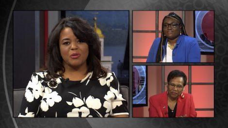 Renee Shaw talks with doctoral student Nana Ama Aya Bullock and Prof. Muriel Harri