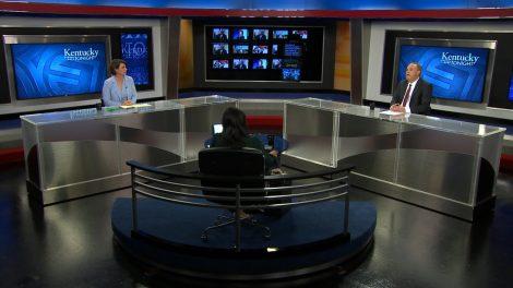 Renee Shaw speaks with Senate candidates Amy McGrath and Brad Barron.