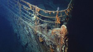 View of the bow of the RMS Titanic photographed in June 2004 by the ROV Hercules during an expedition returning to the shipwreck of the Titanic.
