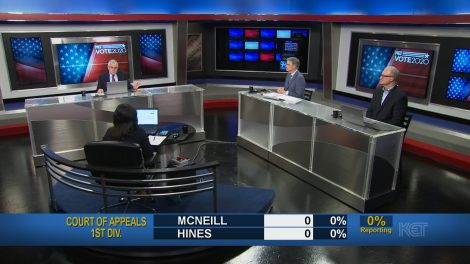 Renee Shaw with expert panel during the election program
