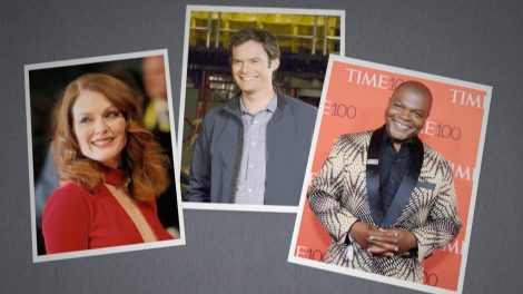 Snapshots of actor Julianne Moore, comedian Bill Hader, and painter Kehinde Wiley