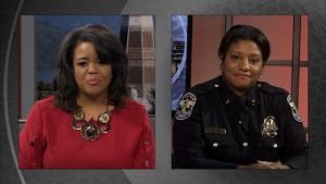 Renee Shaw talks with LMPD Interim Chief Yvette Gentry