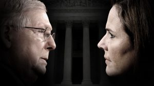 Composite image of profile photos of Mitch McConnell and Amy Coney Barrett with a darkened Supreme Court building facade in the background