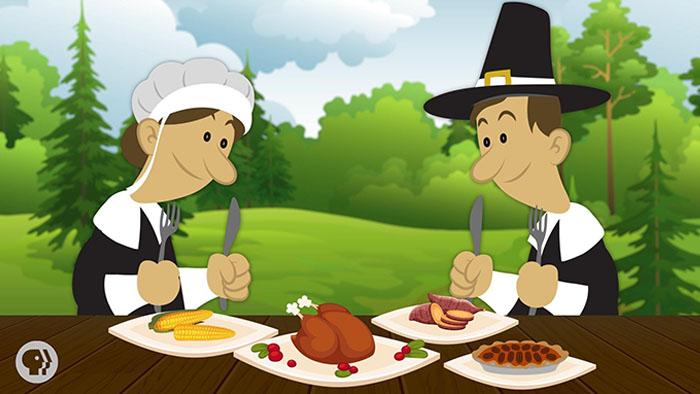 Pilgrims eating Thanksgiving dinner