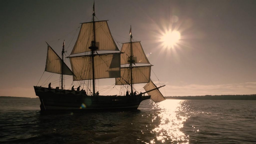 Ship with sunset in the background