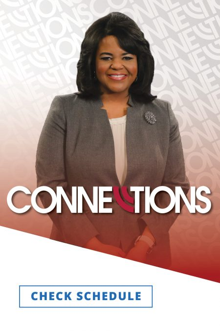 Connections host Renee Shaw smiling in a gray suit against a background with the show logos
