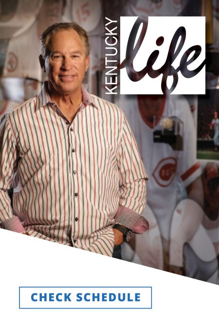 Host Doug Flynn stands smiling in a striped shirt, hands in pockets against a collage of images of him as a baseball player.