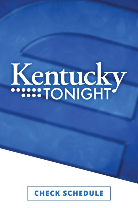The Kentucky Tonight logo in white against a blue background featuring KET's blue logo